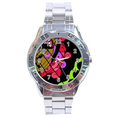 Elegant abstract decor Stainless Steel Analogue Watch