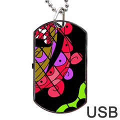 Elegant abstract decor Dog Tag USB Flash (Two Sides)