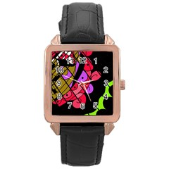 Elegant abstract decor Rose Gold Leather Watch