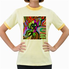 Colorful goat Women s Fitted Ringer T-Shirts