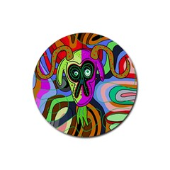 Colorful goat Rubber Coaster (Round)