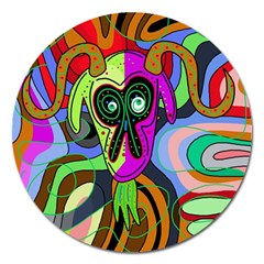 Colorful goat Magnet 5  (Round)