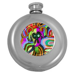 Colorful goat Round Hip Flask (5 oz)