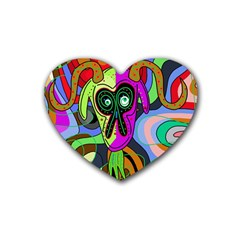 Colorful goat Rubber Coaster (Heart)