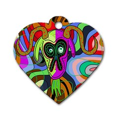 Colorful goat Dog Tag Heart (One Side)