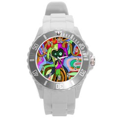 Colorful goat Round Plastic Sport Watch (L)