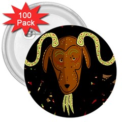 Billy goat 2 3  Buttons (100 pack)