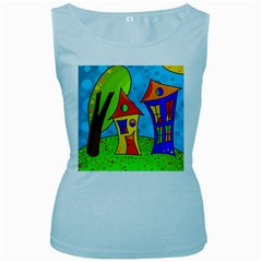 Two houses  Women s Baby Blue Tank Top