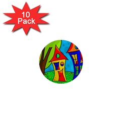 Two houses  1  Mini Buttons (10 pack)