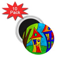 Two houses  1.75  Magnets (10 pack)