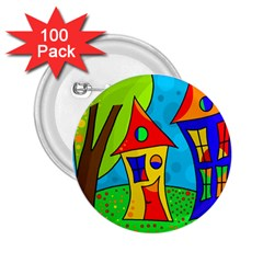 Two houses  2.25  Buttons (100 pack)