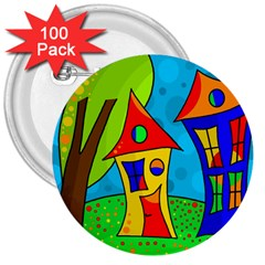 Two houses  3  Buttons (100 pack)