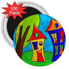 Two houses  3  Magnets (100 pack)