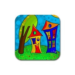 Two houses  Rubber Square Coaster (4 pack)