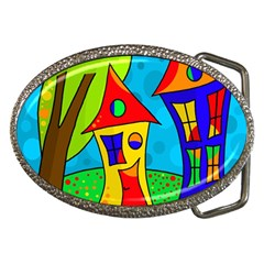 Two houses  Belt Buckles