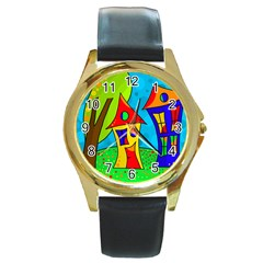 Two houses  Round Gold Metal Watch