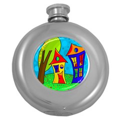 Two houses  Round Hip Flask (5 oz)