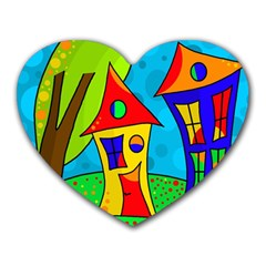 Two houses  Heart Mousepads