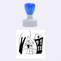 Two houses  Rubber Round Stamps (Medium)