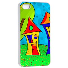 Two houses  Apple iPhone 4/4s Seamless Case (White)
