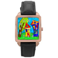 Two houses  Rose Gold Leather Watch