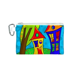 Two houses  Canvas Cosmetic Bag (S)