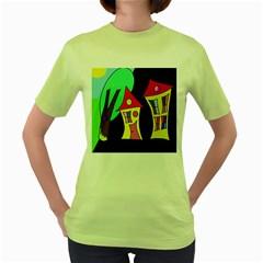 Two houses 2 Women s Green T-Shirt