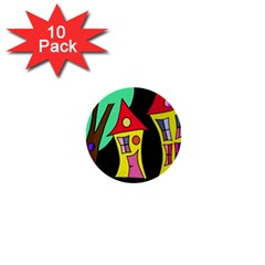 Two houses 2 1  Mini Buttons (10 pack)