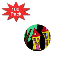 Two houses 2 1  Mini Buttons (100 pack)
