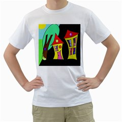 Two houses 2 Men s T-Shirt (White) (Two Sided)