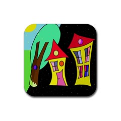 Two houses 2 Rubber Coaster (Square)
