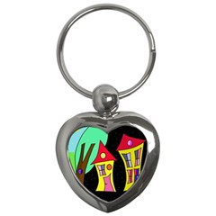 Two houses 2 Key Chains (Heart)