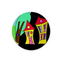 Two houses 2 Rubber Round Coaster (4 pack)