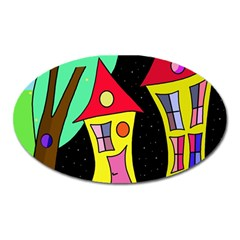 Two houses 2 Oval Magnet
