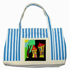 Two houses 2 Striped Blue Tote Bag