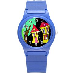 Two houses 2 Round Plastic Sport Watch (S)
