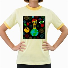 Playful universe Women s Fitted Ringer T-Shirts