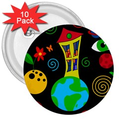 Playful universe 3  Buttons (10 pack)