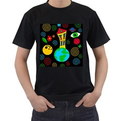 Playful universe Men s T-Shirt (Black) (Two Sided)