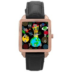 Playful universe Rose Gold Leather Watch