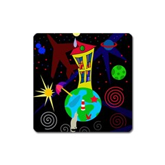 Colorful universe Square Magnet