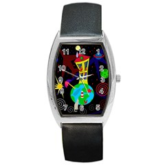 Colorful universe Barrel Style Metal Watch
