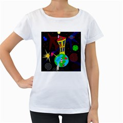 Colorful universe Women s Loose-Fit T-Shirt (White)