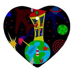 Colorful universe Heart Ornament (2 Sides)