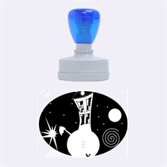 Colorful Universe Rubber Oval Stamps