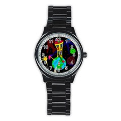 Colorful universe Stainless Steel Round Watch