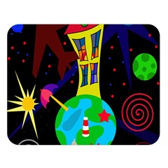 Colorful universe Double Sided Flano Blanket (Large)
