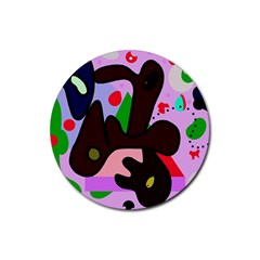 Decorative abstraction Rubber Coaster (Round)