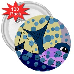Whale 3  Buttons (100 pack)