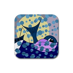 Whale Rubber Square Coaster (4 pack)